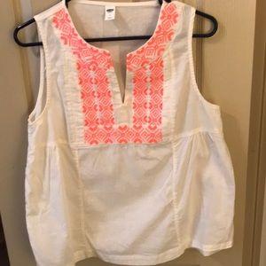 Old Navy sleeveless blouse w/ embroidered yoke.